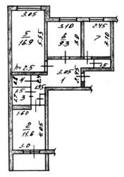 Продам 3-ком.кв.,  в районе 8-й школы,  пенинградка,  S=62 кв.м,  , 2/9 эт.,  64/8 кв.м